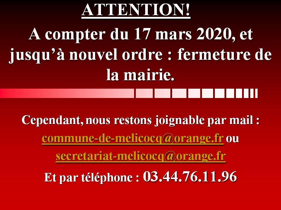 Fermeture mairie mars 2020